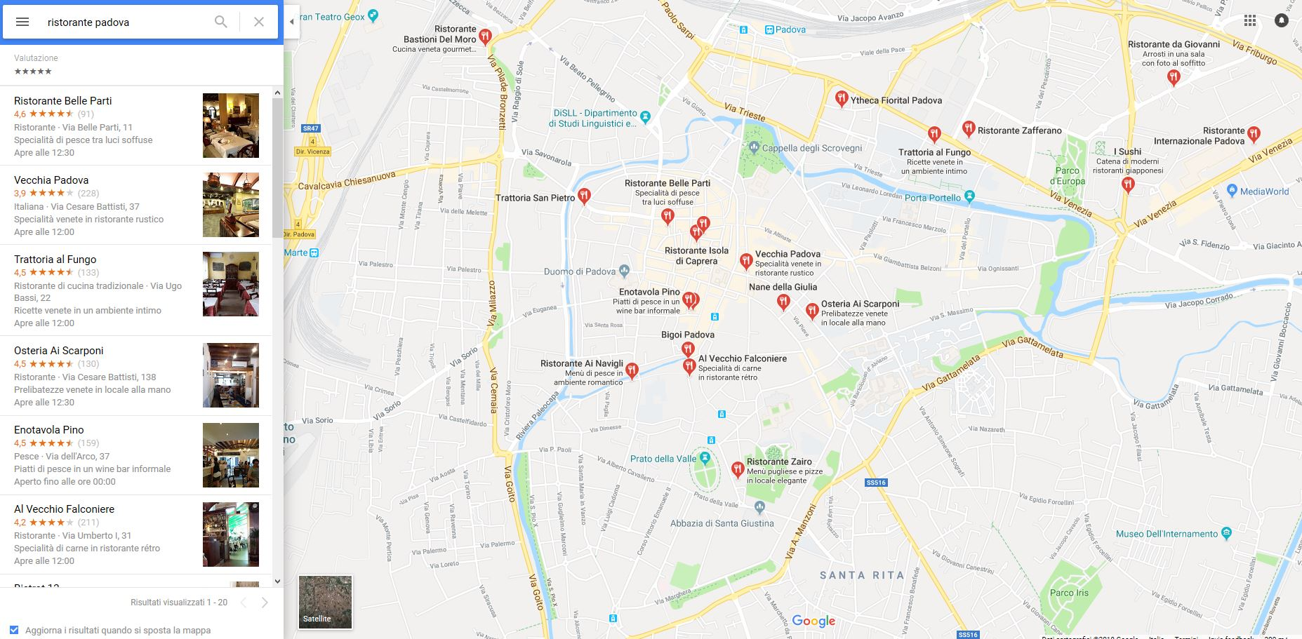 Risultati Google Maps ristoranti Padova