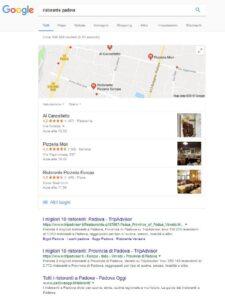 Risultati organici Google ristorante Padova