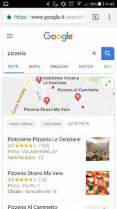 Risultati pizzeria su Google da mobile