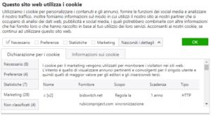 Dichiarazione per i cookie GDPR