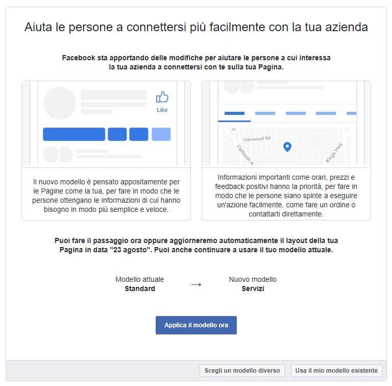 nuovo modello facebook pagine aziende