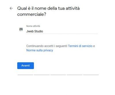 Creazione nuova attività Google My Business