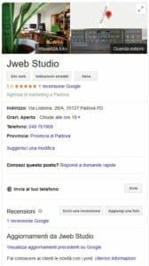 Scheda Google My Business Jweb Studio