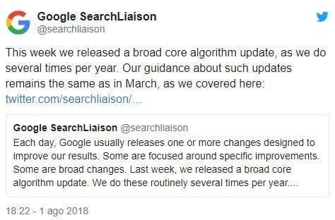 tweet Google nuovo aggiornamento algoritmo